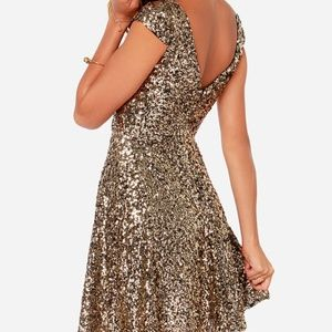 LULU'S Livin' The Gleam Gold Sequin Mini Dress XS